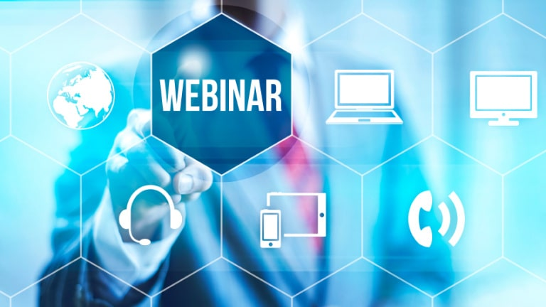 Webinar online concept pointing finger