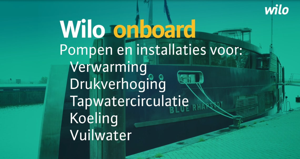 Wilo installed pumps into the new event boat: Blue Rhapsody, where wholesaler partner Technische Unie will have it's yearly sailing fair in october 2019. Teaser foto.
