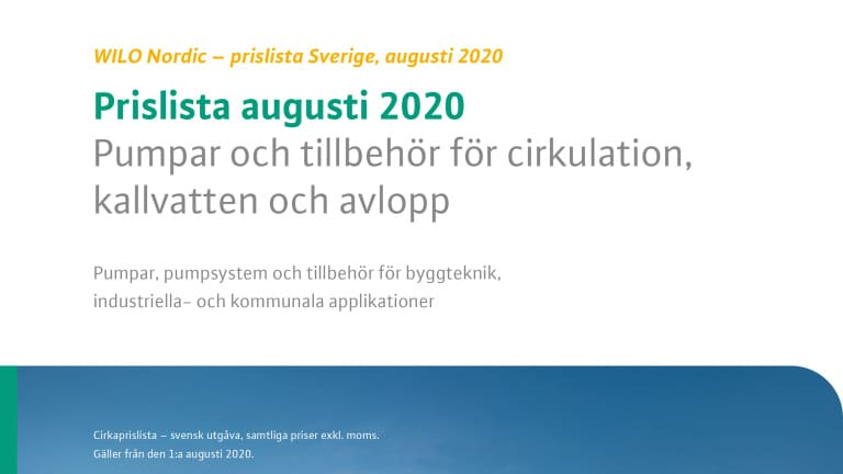 Front page pricelist Sweden aug 2020