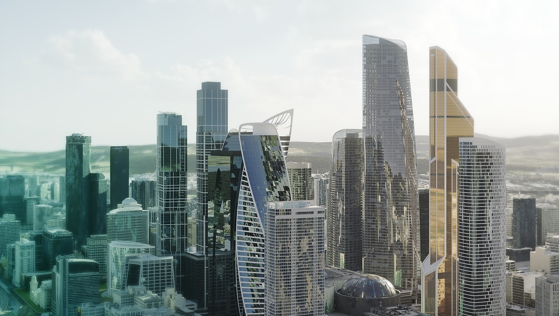 Wilo-World - Key Visual - Fictional city with parts of Moscow (Federation Tower)